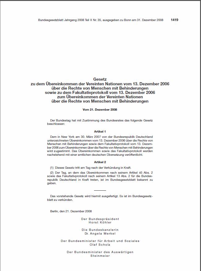 BGBl Behindertenrechtskonvention - Schattenübersetzung