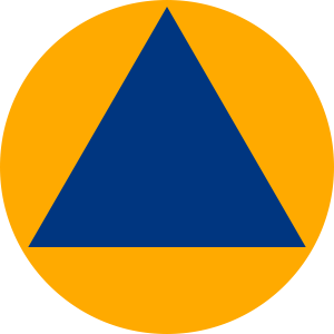 "Internationales Schutzzeichen ""Civil Defense"" (Zivilverteidigung)"
